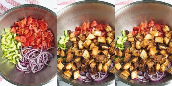 three photos showing the steps pf chopped vegetables, grill toasted bread, and pouring on Italian dressing