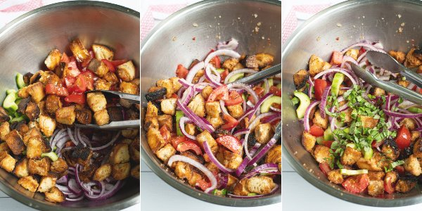 three photos showing the steps of adding the dressing to the salad and tossing together with basil leaves