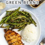 Pinterest Pin for recipe of Grilled Teriyaki Chicken & Green Beans showing a plate with chicken breast, green beans, and white rice