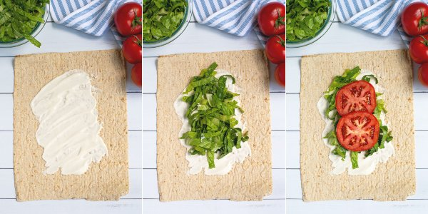 the first steps to build the wrap in pictures showing adding the sauce, lettuce and tomato