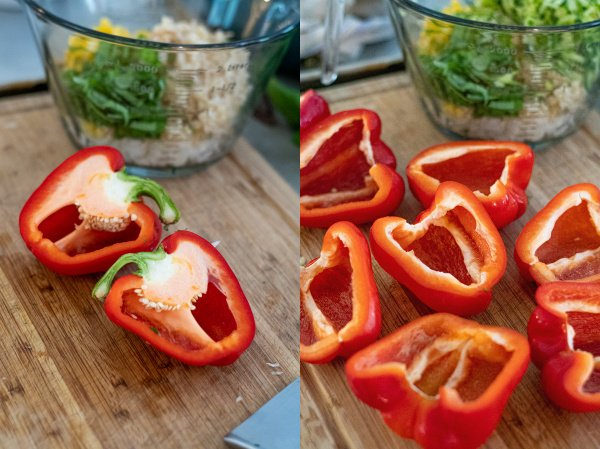 two pictures showing the steps of cutting the bell peppers in half and removing the stem and seeds