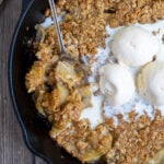 Grilled Apple Crisp Pinterest Pin showing hot to make apple crisp on the grill and a photo of the dessert topped with ice cream