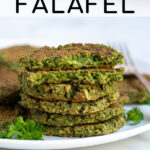 Pinterest Pin for Oven Baked Falafel showing a stack of oven baked falafel on a white plate