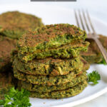Pinterest Pin for Oven Baked Falafel showing a photo of crispy falafel stacked on a plate