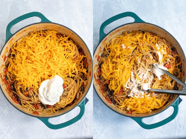 2 images showing the steps of adding the cheese and sour cream to the spaghetti