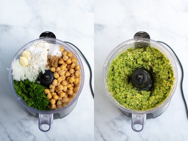 photo collage showing before the ingredients are processed on the food processor and the bright green mixture after is is blended together
