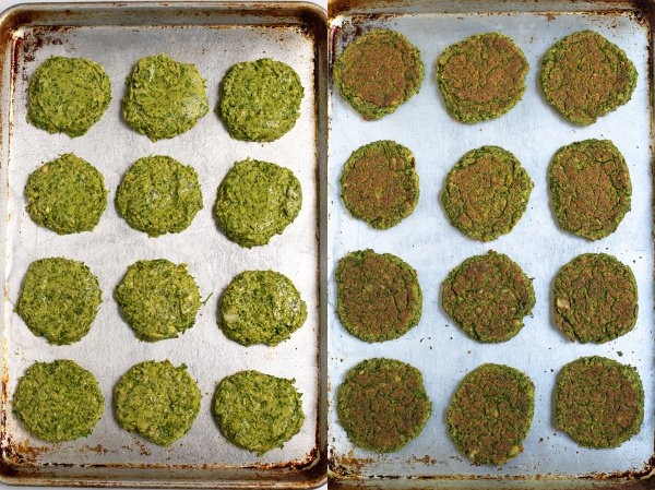 photo collage of before and after of a sheet pan full of falafel ready for the oven