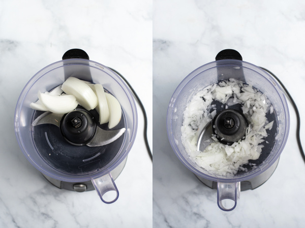 collage of photos showing the onion being chopped in a food processor