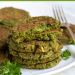 Pinterest Pin for Oven Baked Falafel showing a stack of falafel on a white plate