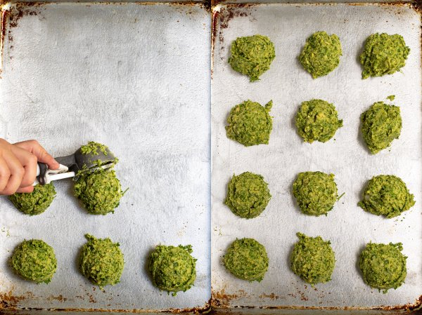 collage of photos making falafel, scooping up balls of the mixture and placing it on a sheet pan