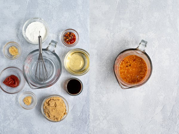 two photo collage showing the ingredients for the sauce and then the sauce mixed together in a glass measuring cup
