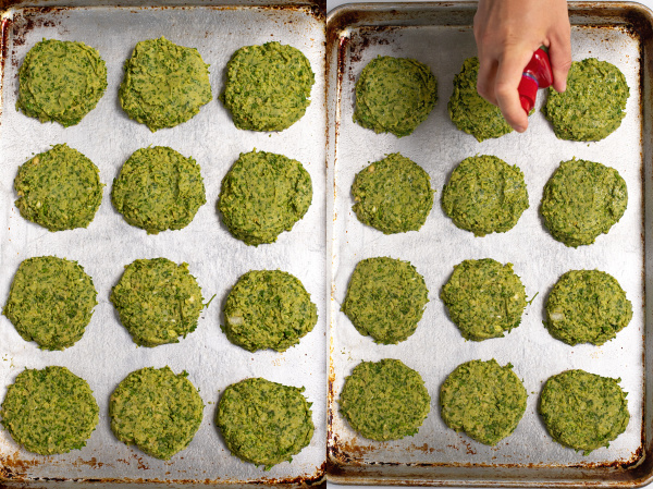 collage of photos showing unbaked falafel on a sheet pan being sprayed by oil
