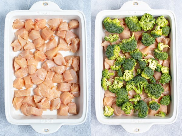 two photo collage showing the first steps in making baked general tso chicken, adding cubed chicken and broccoli to the dish