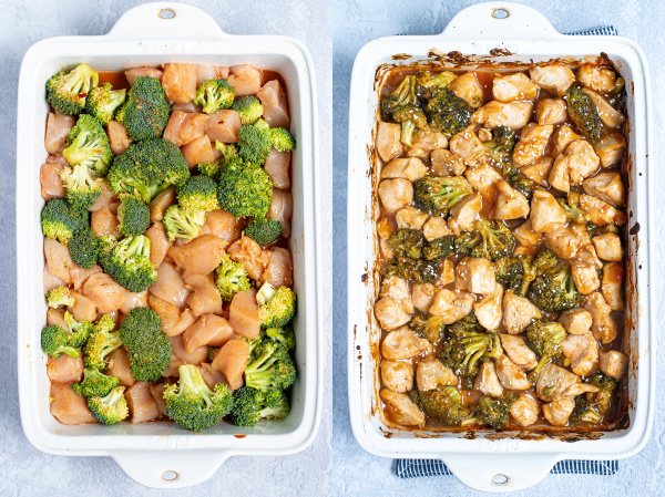 two photo collage showing the uncooked dish of general tso chicken and the other showing a fully cooked dish of chicken