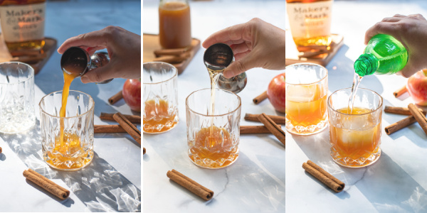 Three photo collage of the apple cider, bourbon, and ginger ale being poured into the glass.