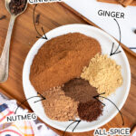 Pinterest Pin with text overlay DIY Pumpkin Spice, photo of spices piled on a plate with arrows pointing to the five different spices.