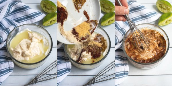 A three photo collage showing all of the different ingredients being added to a glass bowl to be mixed together.