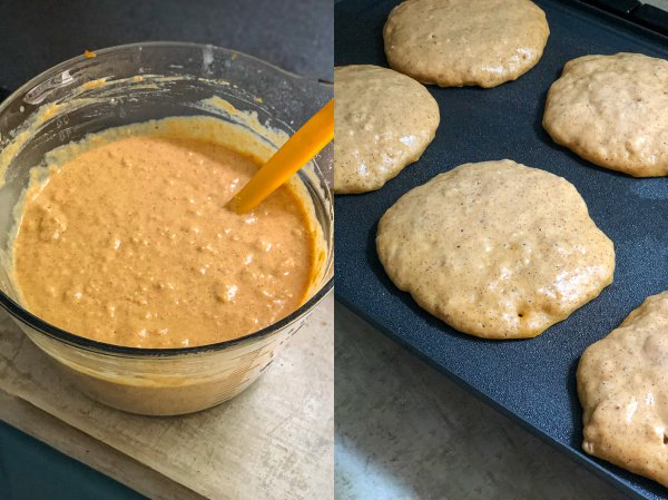 Two photo collage, first shows a bowl with a spatula full of the Pumpkin pancake batter showing how it should be a little clumpy, second a pancake cooking on the griddle starting to show air bubbles.
