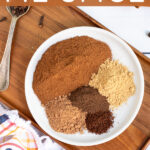 Pinterest Pin with text overlay Homemade Pumpkin Pie Spice includes a photo of spices picked on a small white plate.