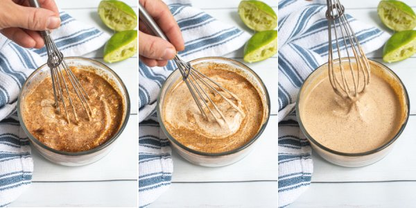 three photo collage showing the sequence of mixing the healthy southwest sauce together.