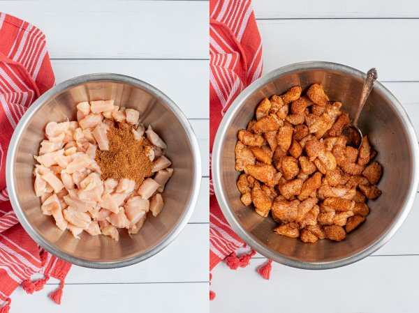 two photos showing step by step instructions of mixing cut chicken and taco seasoning together.