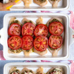 Pinterest Pin with text overlay 'Pesto Chicken Bake' showing three photos of adding ingredients to chicken cutlets in a baking dish.