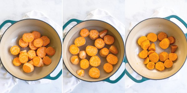 The three steps of cooking the sweet potatoes, uncooked, in water, and cooked.