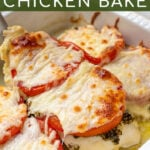 Pinterest Pin with text overlay 'Pesto Chicken Bake' showing cooked chicken on spatula with pesto, tomatoes, and melted mozzarella cheese.