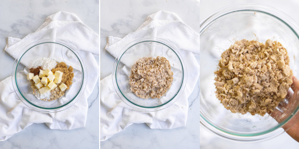 Steps of making oat streusel, adding the ingredients to a bowl and mixing until a corse crumb in achieved.