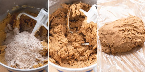 A collage showing the steps of adding the dry ingredients to the wet ingredients.