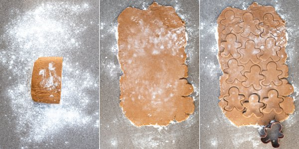 A collage showing the cookies being rolled and cutout of the dough.