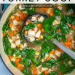 Pinterest Pin with text Healthy Leftover Turkey Soup, image of a large dutch oven filled with a colorful turkey soup.
