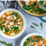 Pinterest Pin with text Healthy Leftover Turkey Soup, image of bowls and a pot of takers soup with spinach, beans, and carrots.