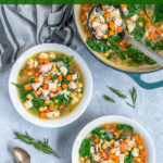 Pinterest Pin with text Healthy Leftover Turkey Soup, image of bowls and pot filled with a colorful turkey soup with spinach, beans, and carrots.