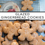 Pinterest Pin with text overlay, Glazed Gingerbread Cookies. Image of gingerbread cookies on a wire rack.