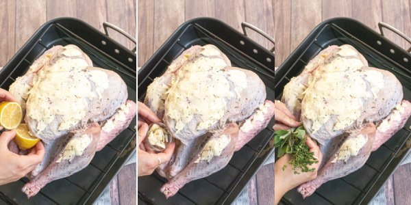 Collage of photos showing aromatics being added to the empty cavity of the raw turkey.