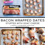 Pinterest Pin with text overlay 'Bacon Wrapped Dates with Goat Cheese a perfect three ingredient appetizer'. Image of bacon wrapped dates placed on a white plate.