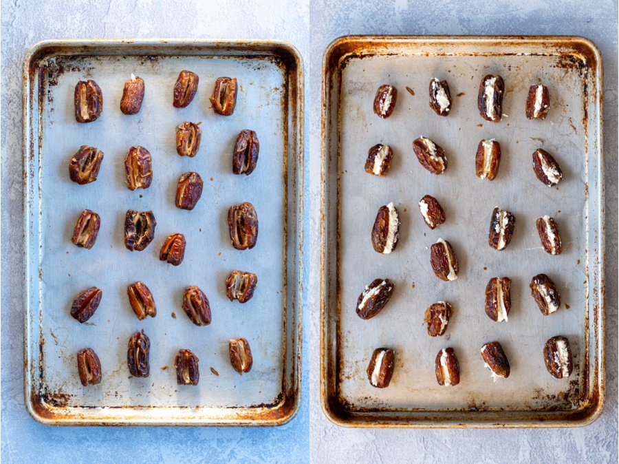 Collage showing the steps of pitting the dates and stuffing them with goat cheese and placing them in a sheet tray.