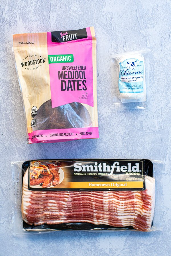 The three ingredients need to make roast cheese stuffed bacon wrapped dates.