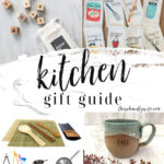 A Pinterest Pin Kitchen Gift Guide image of a collage of kitchen gifts.