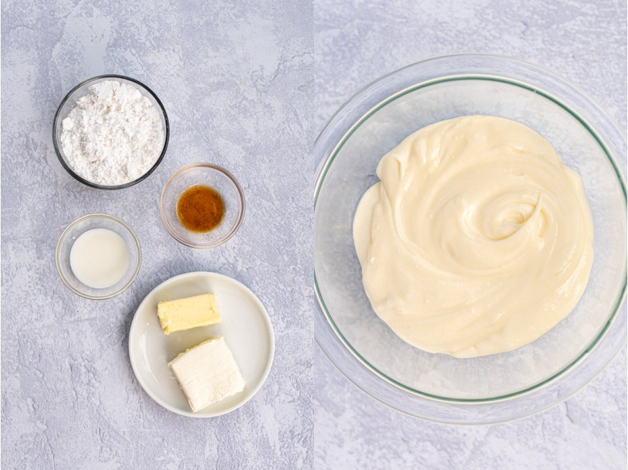 The ingredients and final recipe for the cream cheese frosting.