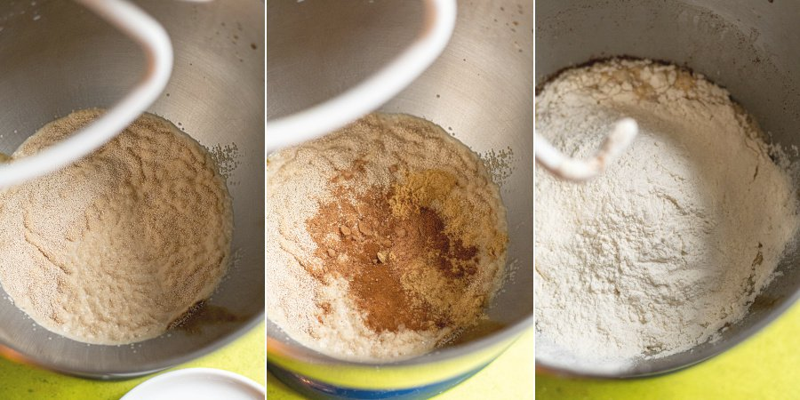 Collage showing yeast blooming, adding spices, and flour to a mixing bowl.
