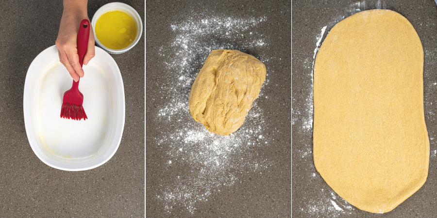 Collage of buttering a baking dish. And the risen dough on a clean floured surface, and the dough rolled out into a rectangle.