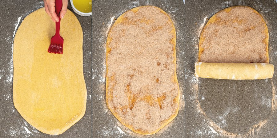 Collage of buttering the rolled out dough, adding the filling, and rolling up the dough.