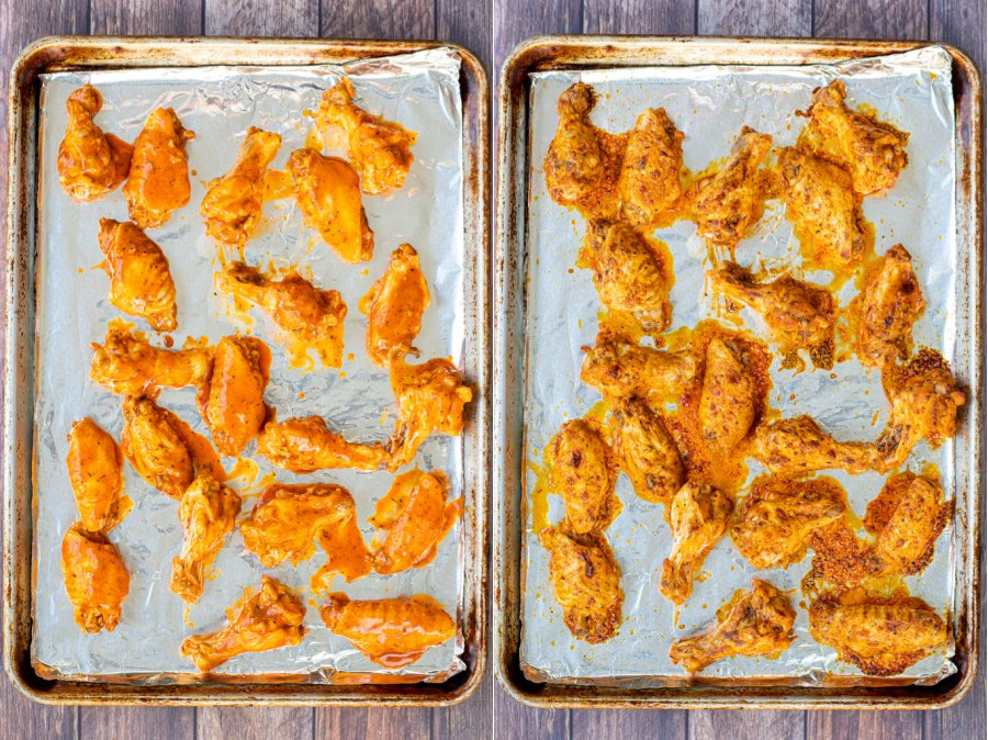 Side by side photos of the sauced wings before and after they go into the oven for broiling.