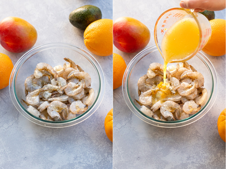 Collage showing an orange marinade being poured onto a bowl of raw shrimp for marinating before grilling.