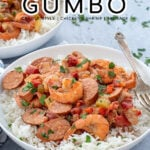 """Pinterest Pin with text overlay """"Crockpot Gumbo (creole style, chicken, shrimp, sausage)"""". Image of cooked red gumbo over a bed of rice."""