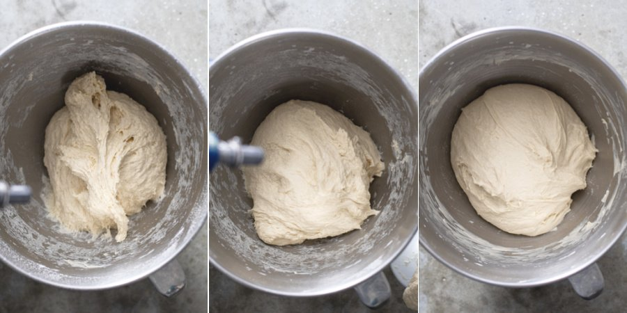 Steps showing the readiness of the pizza dough while in a stand mixer, the first image with not enough flour, and the final image of just the right amount after kneading.