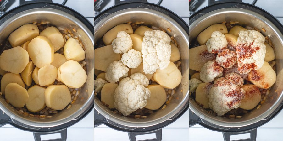 Collage showing the steps of adding the potatoes to the pressure cooker, than the cauliflower, then the seasonings.