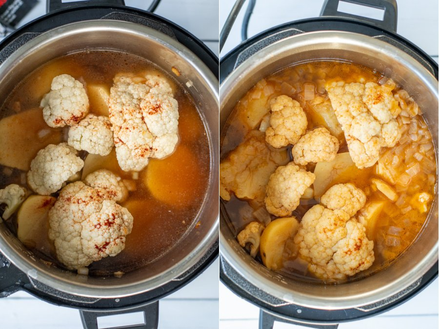 Collage showing the ingredients in the instant pot before cooking and then the ingredients cooked in the pot after removing the lid.